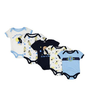 Precious Moments Blue Baby Boy Onesies Bodysuit 0-3 M 5-Pack Layette Gift Set