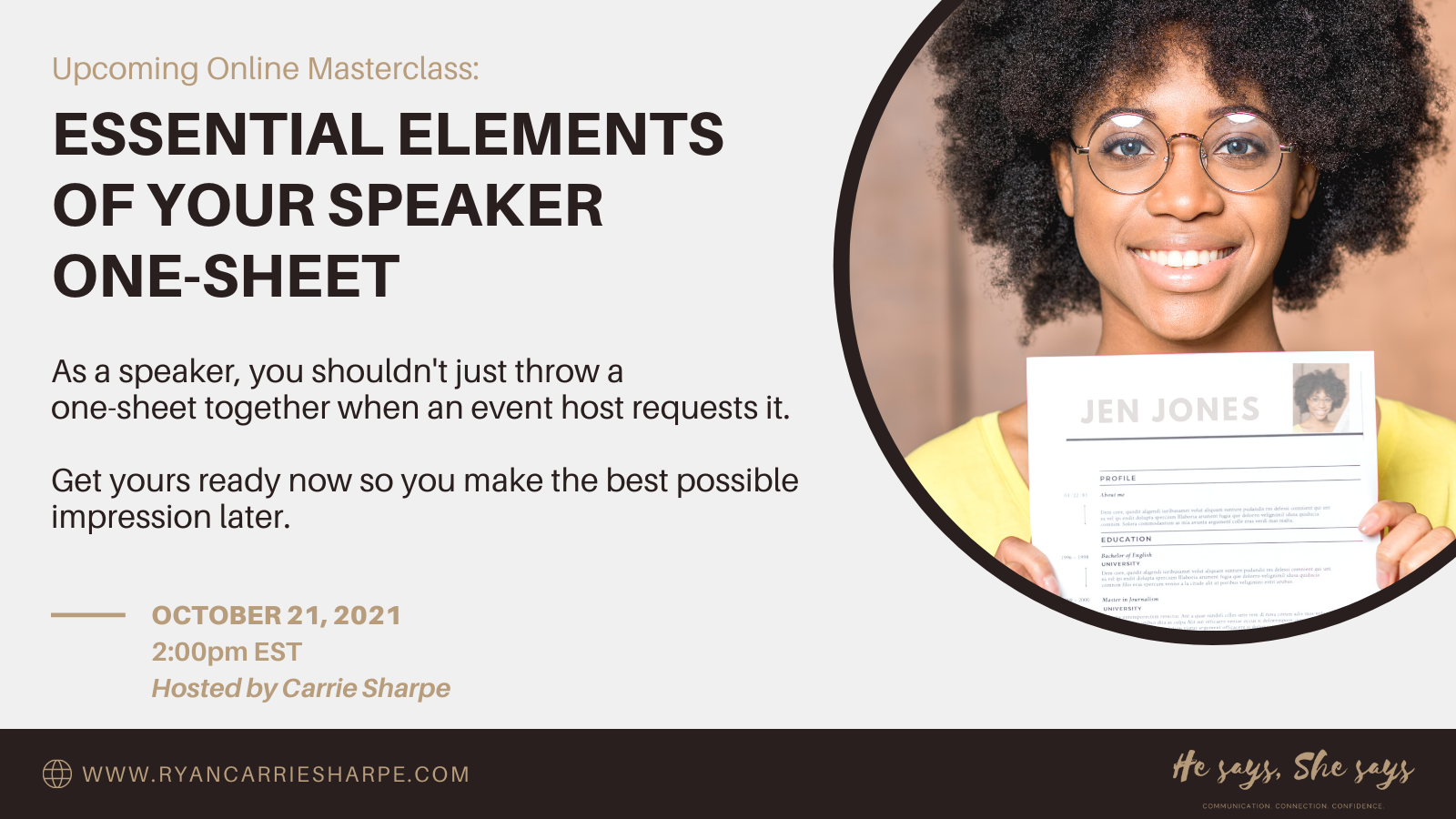 Essential Elements of Your Speaking One-Sheet | Online Masterclass hosted by Carrie Sharpe