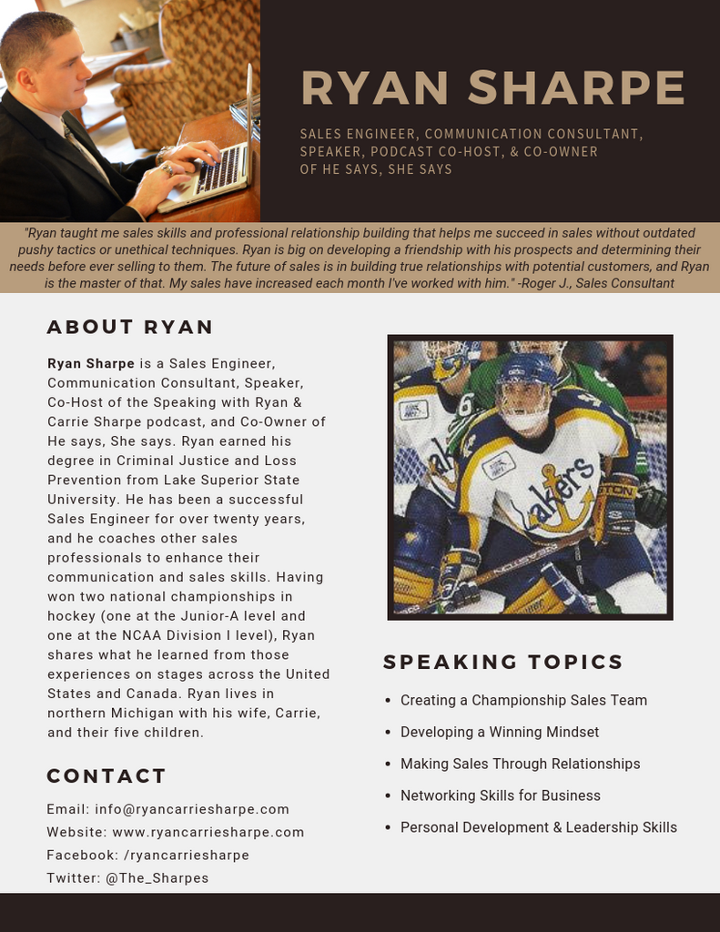 speaker one-sheet for Ryan Sharpe
