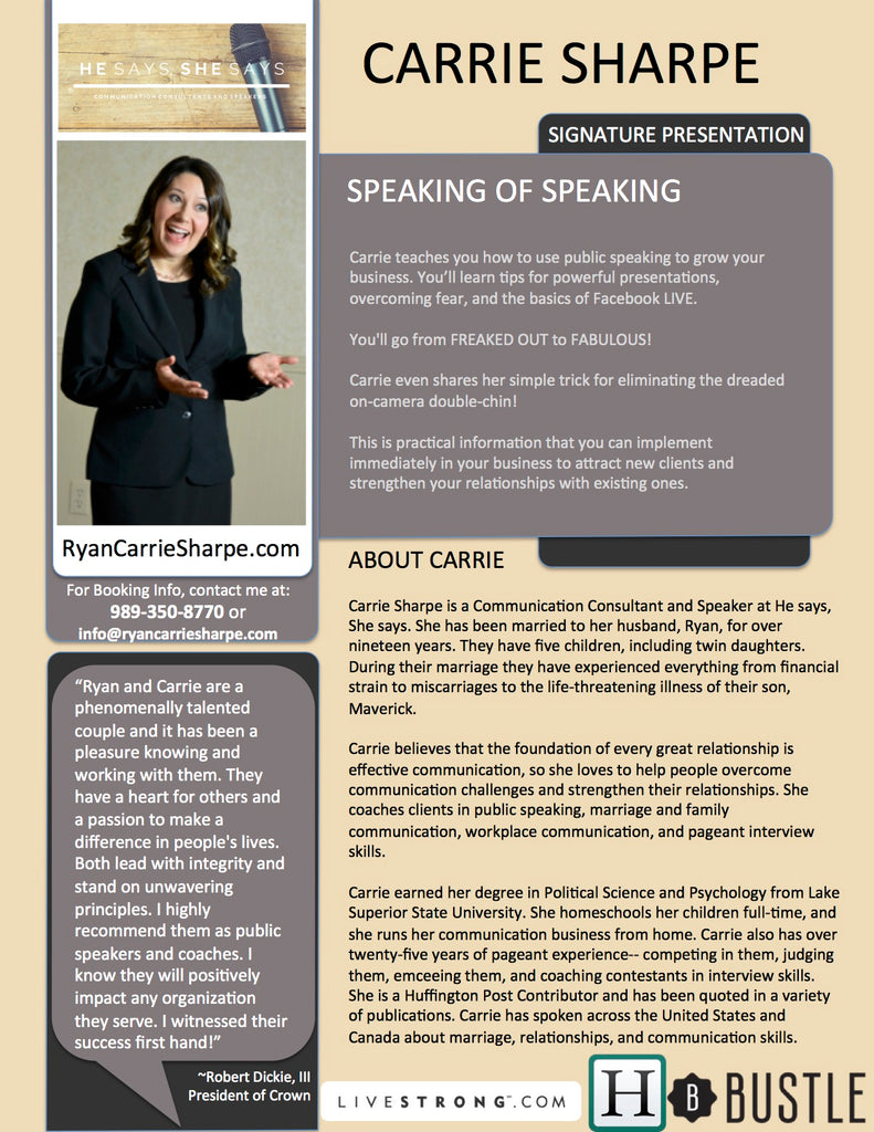 Speaking of Speaking, by Carrie Sharpe