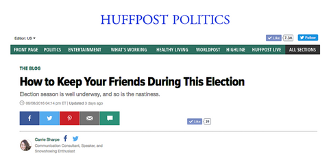 How to Keep Your Friends During This Election by Carrie Sharpe