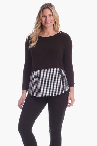 Allison Top in Black with Gingham