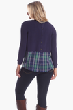 Allison Top in Navy with Plaid