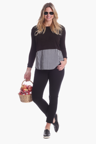 Kimball Top in Navy and Wine Stripe