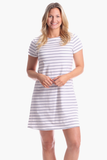 Amber Dress in Silver & White Stripe