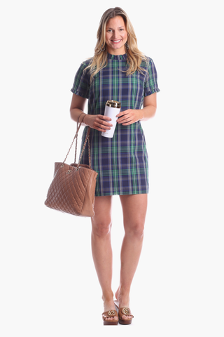 Blake Ruffle Dress in Navy & Green Plaid