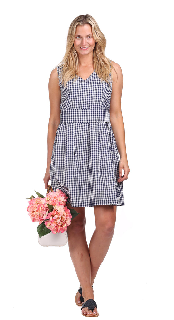 Clearwater Dress in Navy Gingham