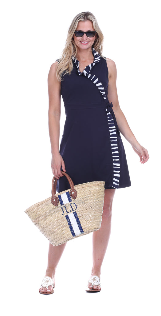 Coldwater Wrap Dress in Navy