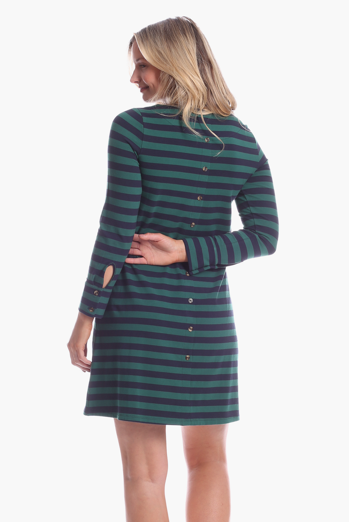 Davis Dress in Evergreen & Navy Stripe