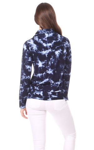Finley Funnel Neck in Navy Tie Dye