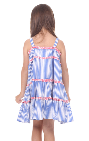 Girls Alice Dress in Royal Blue Stripe with Red Stripe