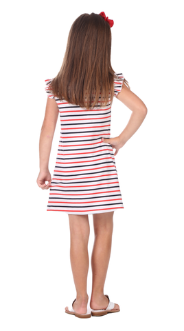 Girls Belle Dress in Red, White & Navy Stripe