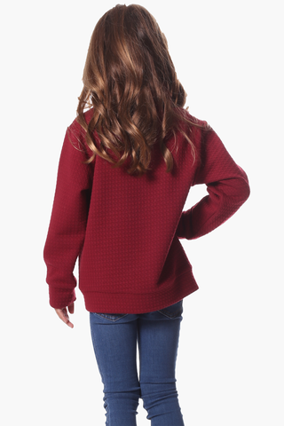 Girls Brandy Pullover in Red Star
