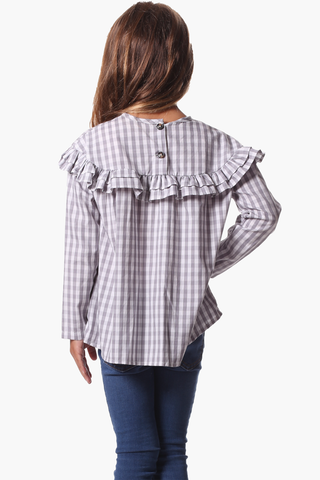 Girls Bridgett Top in Grey Gingham