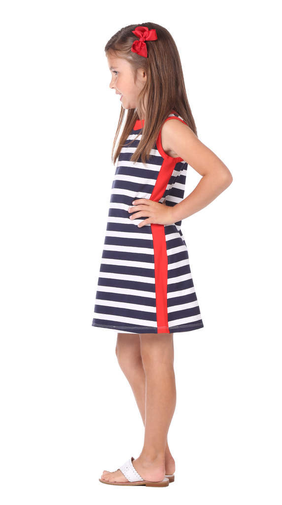 Girls Claire Shift in Navy & White Stripe