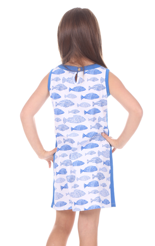 Girls Claire Shift in Fish Print