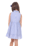Girls Dakota Dress in Royal Blue Stripe