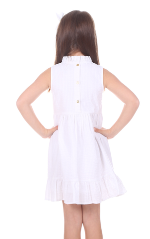 Girls Dakota Dress in White Seersucker