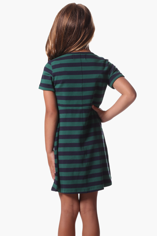 Girls Eleanor Dress in Evergreen & Navy Stripe