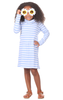 Girls Emmerson Dress in Hydrangea & White Stripe