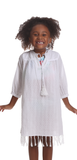 Girls Gasparilla Coverup in White Swiss Dot