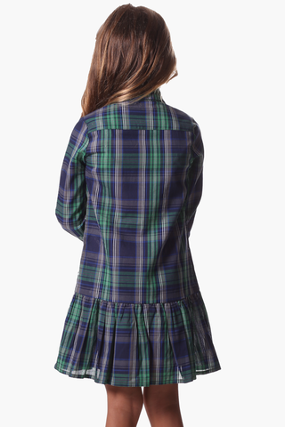 Girls Heidi Dress in Navy & Green Plaid