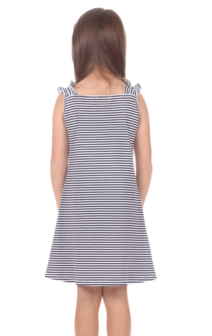 Girls Kate Dress in Thin Navy Stripe