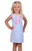 Girls Kelly Dress in Sky Gingham with Pink Gingham