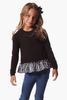 Girls Kira Sweater in Black with Gingham
