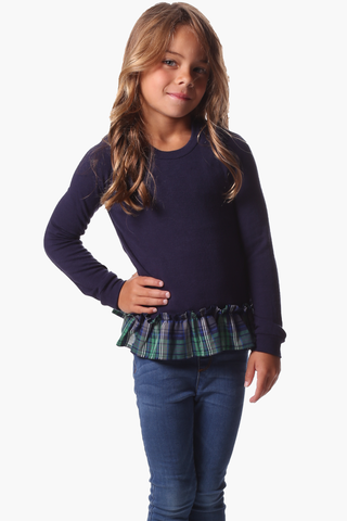 Girls Piper Pullover in Navy & White Stripe