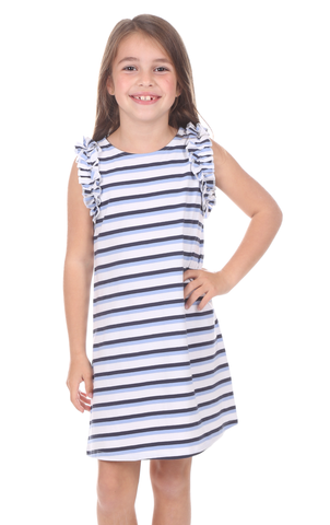 Coldwater Wrap Dress in Violet Stripe