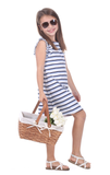 Girls Leah Dress in Navy, White & Hydrangea Stripe