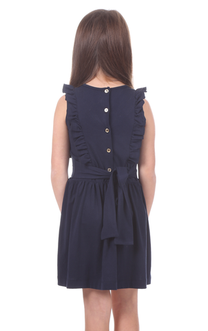 Girls Madeline Dress in Navy