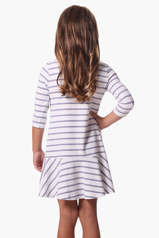 Girls Melissa Dress in Silver & White Stripe