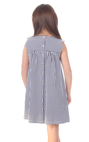 Girls Mimi Dress in Thin Navy Stripe