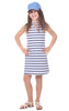 Girls Poppy Dress in Navy, White & Hydrangea Stripe