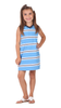 Girls Poppy Pom Dress in Pool Stripe