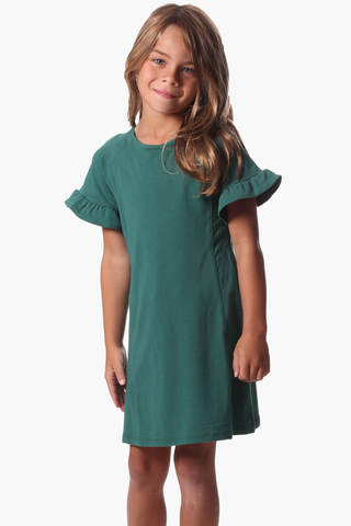 Girls Rachel Ruffle Dress in Evergreen