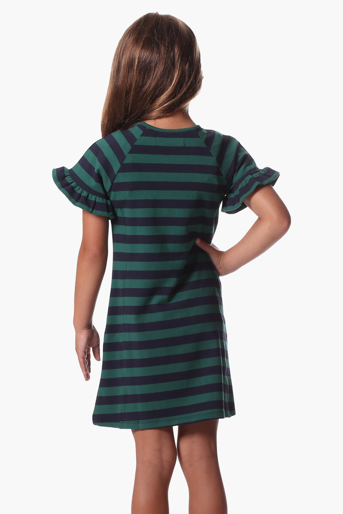 Girls Rachel Ruffle Dress in Evergreen & Navy Stripe