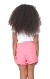 Girls Ruby Ruffle Shorts in Strawberry