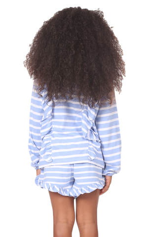 Girls Sally Sweatshirt in Hydrangea & White Stripe