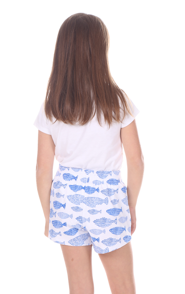 Girls Shelly Shorts in Fish Print