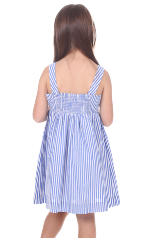 Girls Willow Dress in Royal Blue Stripe