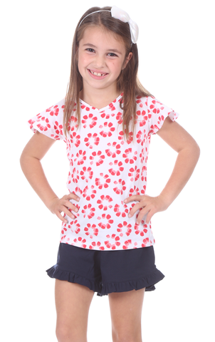 Girls Paisley Puff Sleeve in Strawberry