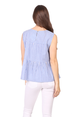 Greta Top in Royal Blue Stripe