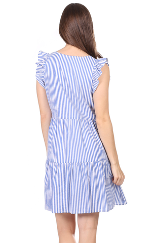 Gwen Dress in Royal Blue Stripe