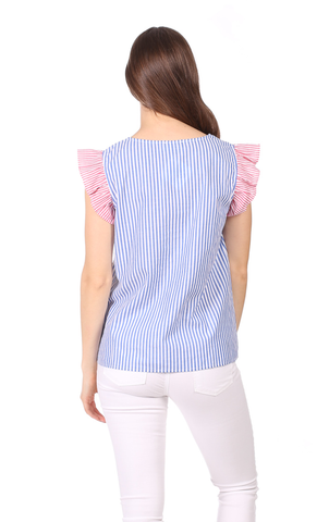 Heather Top in Royal Blue Stripe with Red Stripe