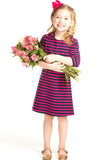 Girls Abbey Dress in Pink and Navy Stripes