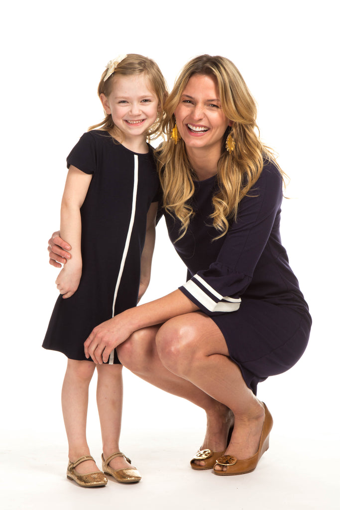 Girls Addison Dress in Navy