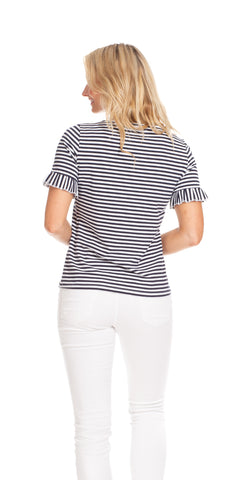 Rosie Ruffle Tee in Navy & White Stripe
